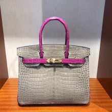 Wholesale Hermes CK81 Gris T/J5 Rose Scheherazade Shiny Crocodile Birkin Bag30CM