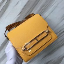 Wholesale Hermes Evercolor Calf Roulis19CM Shoulder Bag in 9D Ambre Yellow