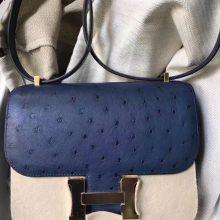 Sale Hermes 7LBlue De Maite KK Ostrich Constance Bag23CM Silver Hardware