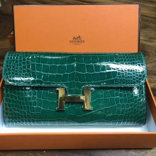 Luxury Hermes 6Q Vert Emerald Shiny Crocodile Constance Wallet Gold Hardware
