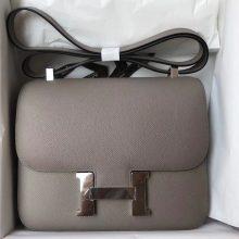 Discount Hermes M8 Gris Ashpite Epsom Calf Constance Bag23CM Silver Hardware