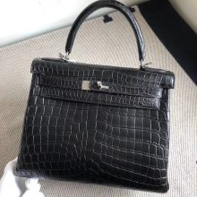 Discount Hermes CK89 Noir Matt Crocodile Kelly Bag28CM Silver Hardware