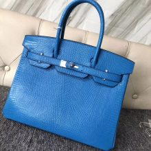 Customization Hermes 7W Blue Izmir Lizard Leather Birkin30CM Bag Silver Hardware