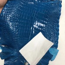 New Arrival Hermes 7W Blue Izmir Alligator Shiny Crocodile Leather