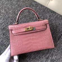 Discount Hermes Shiny Crocodile Minikelly-2 Evening Bag in Rose Confetti Gold Hardware