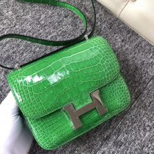 New Hermes Shiny Crocodile Constance18CM Shoulder Bag in 1T Vert Tipien