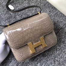 Luxury Hermes CK81 Gris T Shiny Crocodile Constance Bag18cm Gold Hardware
