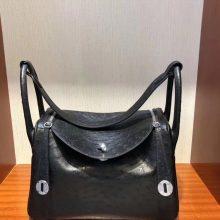 Discount Hermes KK OstrichLeather Lindy Bag30CM in CK89 Noir Silver Hardware