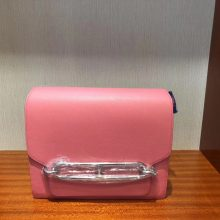 New Hermes 8W Rose Azalee Evecolor Leather Roulis Bag24CM Silver Hardware