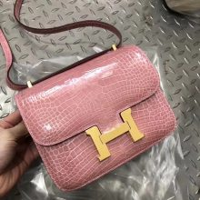 Pretty Hermes Shiny Crocodile Constance Bag18CM in 1Q Rose Confetti Gold Hardware
