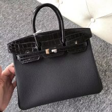 Sale Hermes CK89 Noir Shiny Crocodile/Togo Leather Birkin25CM Rose Gold Hardware
