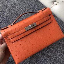 Fashion Hermes 93 OrangeKK Ostrich Minikelly Pochette 22CM Silver Hardware