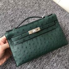 Discount Hermes KK Ostrich Minikelly Clutch Bag22CM in Z6 Vert Malachite Silver Hardware