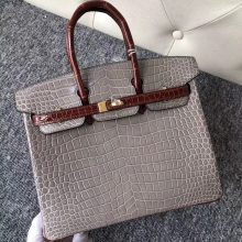 Luxury Hermes CK81 Gris T/CK31 Miel Shiny Crocodile Birkin Bag25cm Gold Hardware