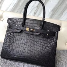 Elegant Hermes Matt Crocodile Birkin30CM Bag in CK89 Noir Gold Hardware
