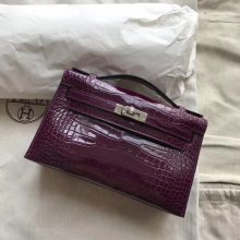 Luxury Hermes N5 Cassis Purple Shiny Crocodile Minikelly Clutch Bag22CM