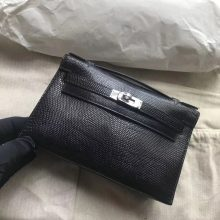 Sale Hermes Lizard Leather Minikelly Evening Bag in CK89 Noir Silver Hardware