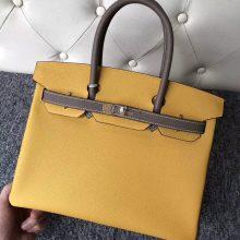 Fashion Hermes 9D Ambre/CK18 Etoupe Epsom Calf Birkin Bag30CM Gold Hardware