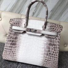 Wholesale Hermes Himalaya Crocodile Leather Birkin Bag30CM Silver Hardware