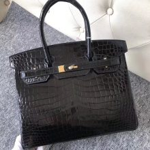 Fashion Hermes CK89 Noir Shiny Crocodile Birkin Bag30CM Gold Hardware