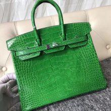 Noble Hermes 1L Vert Cacti Shiny Crocodile Birkin Bag25CM Silver Hardware