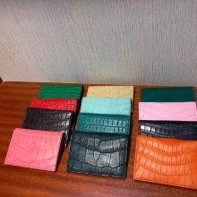 Discount Hermes Multi-color Matt Crocodile Card Bag Short Wallet