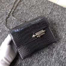 Fashion Hermes Shiny Crocodile Verrou Shoulder Bag in CK88 Gris Graphite Silver Hardware