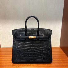 Discount Hermes CK89 Noir Matt Crocodile Birkin Bag25CM Gold Hardware