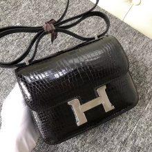 Elegant Hermes Shiny Crocodile Constance18CM Shoulder Bag CK89 Noir Silver Hardware