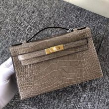 Fashion Hermes Shiny Crocodile Minikelly Clutch Bag in CK81 Gris Tourterelle