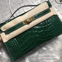Luxury Hermes CK67 Vert Fonce Shiny Crocodile Minikelly Pochette22CM Gold Hardware