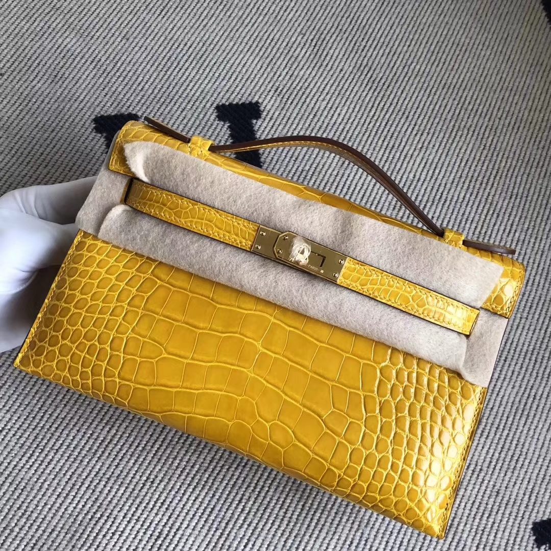 New Hermes 9D Amber Yellow Shiny Crocodile Minikelly22CM Bag Gold Hardware