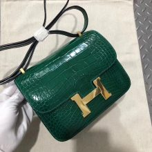 Discount Hermes 6Q Vert Emeraude Shiny Crocodile Constance Bag19CM Gold Hardware