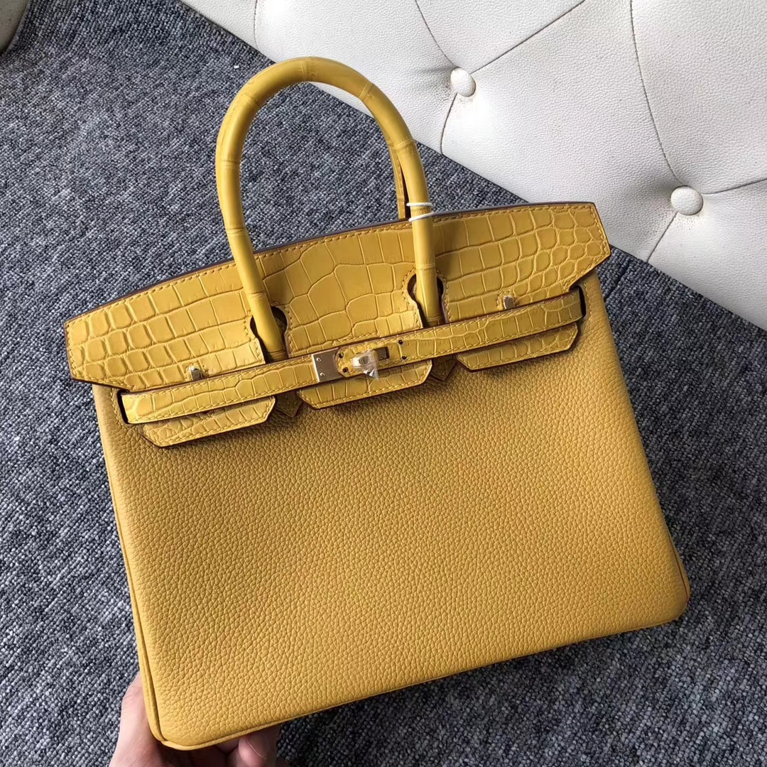 Customize Hermes Birkin Bag25CM Ambre Crocodile/Togo Leather Gold Hardware
