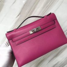 Pretty Hermes Swift Calf Minikelly Pochette22CM L3 Rose Purple Silver Hardware