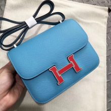 Customize Hermes P3 Blue De Nord Epsom Constance Bag Rouge Casaque Enamel Buckle