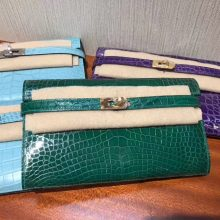 Luxury Hermes 6Q Vert Emerald Shiny Crocodile Kelly Wallet Clutch Bag Gold Hardware