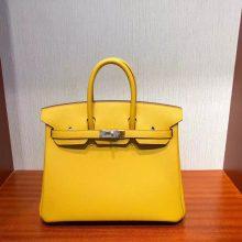 Sale Hermes Epsom Birkin25CM Bag in 9D Ambre Yellow Silver Hardware