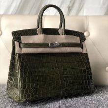 Luxury Hermes Shiny Crocodile/Lizard Leather Birkin Bag25cm in 6H Vert Olive