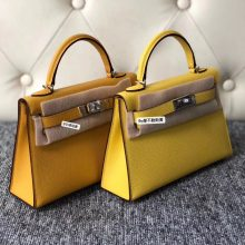 Fashion Hermes 9D Ambre VS 9O Jaune de Naples Epsom Calf Minikelly-2 Clutch Bag