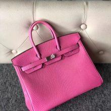 Fashion Hermes Shiny Lizard Birkin Bag25CM in Rose Strawberry Silver Hardware
