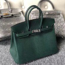 Stock Hermes CK67 Vert Fonce Lizard Leather Birkin25CM Silver Hardware