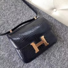 Luxury Hermes Shiny Crocodile Constance Bag24CM in 2Z Blue Midnight Rose Gold Hardware