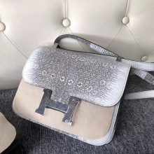 Noble Hermes Nature Color Lizard Leather Constance24CM Bag Silver Hardware