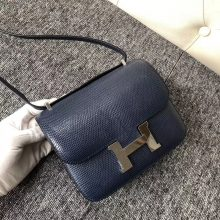 Elegant Hermes CK73 Blue Saphir Shiny Lizard Constance18CM Bag Silver Hardware