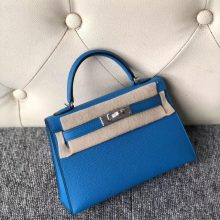 Stock Hermes B3 Blue Zanzibar Epsom Calf Minikelly-2 Clutch Bag Silver Hardware