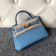 Fashion Hermes Epsom Calf Minikelly-2 Evening Bag in P3 Blue de Nord Silver Hardware
