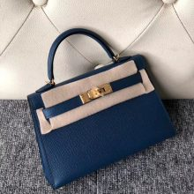 Stock Hermes 1P Blue Colvert Epsom Calf Minikelly-2 Evening Bag Gold Hardware