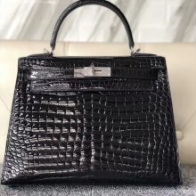Customize Hermes CK89 Noir Shiny Crocodile Kelly Bag28CM Silver Hardware