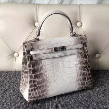 Discount Hermes Himalaya Crocodile Leather Kelly Bag25CM Silver Hardware